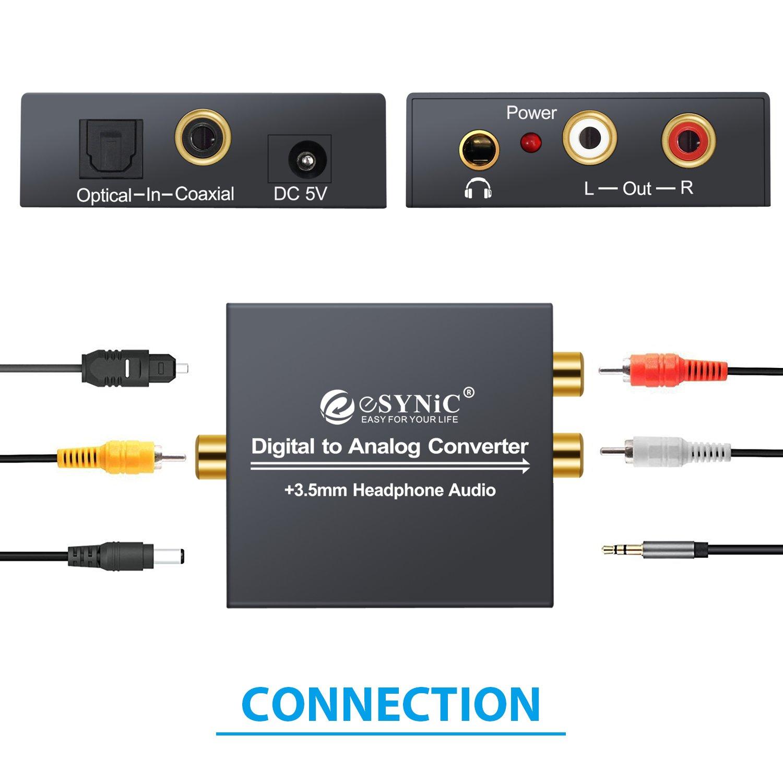ESYNiC DAC Convertidor Digital a Analógico con Cable Coaxial/ Óptica a RCA Toslink y SPDIF Transformador de HDMI Audio para PS3 4 Xbox Android Box AppleTV ...