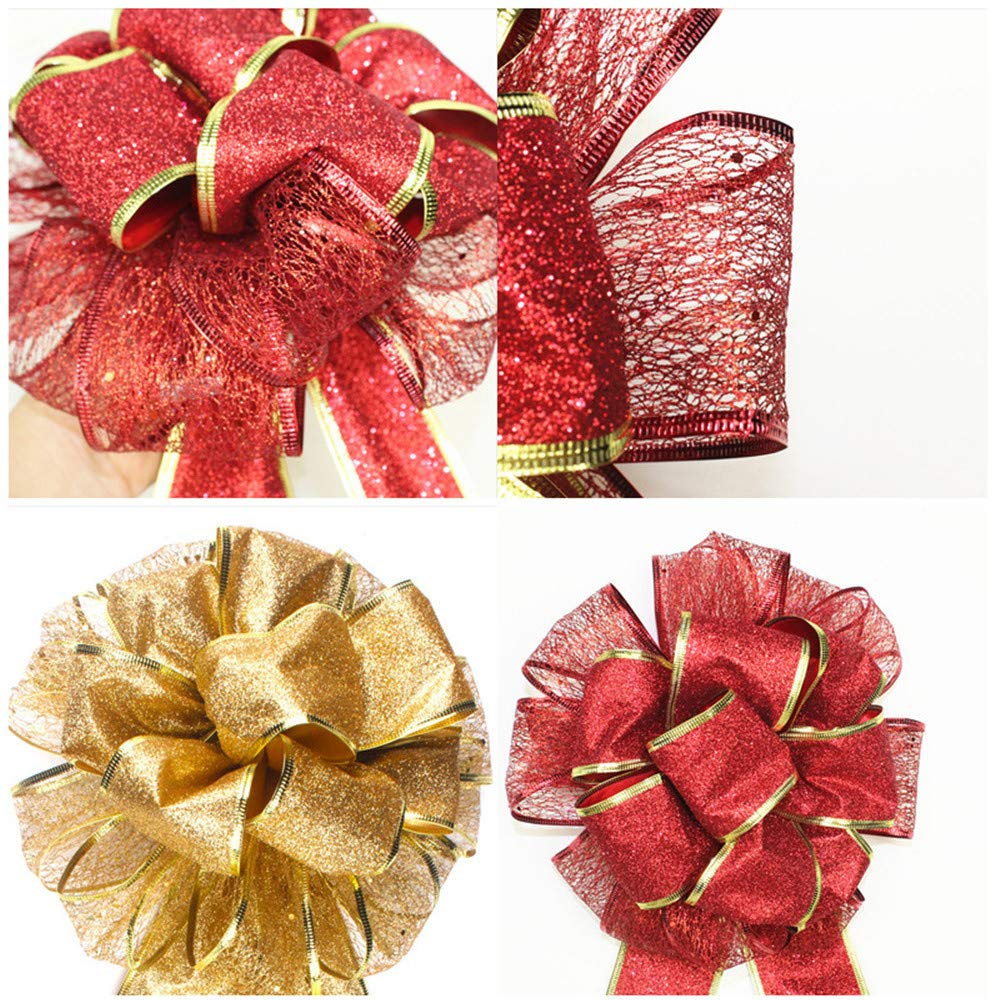 Red - 2PCS Pausseo Large Christmas Bow Red and Gold Bow Bouquet Handcraft Pendant Xmas Tree Childrens Gift Decorative Patterned Hanging Accessories Supplies Door Hanging Decoration Toy Doll DIY