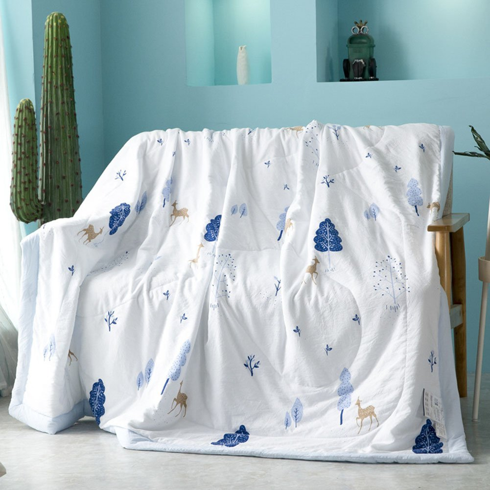 Uther Thin Comforter for Summer Washable Quilted Coverlet Bedspread Bed Cover Summer Quilt Blanket (Blue,Twin)