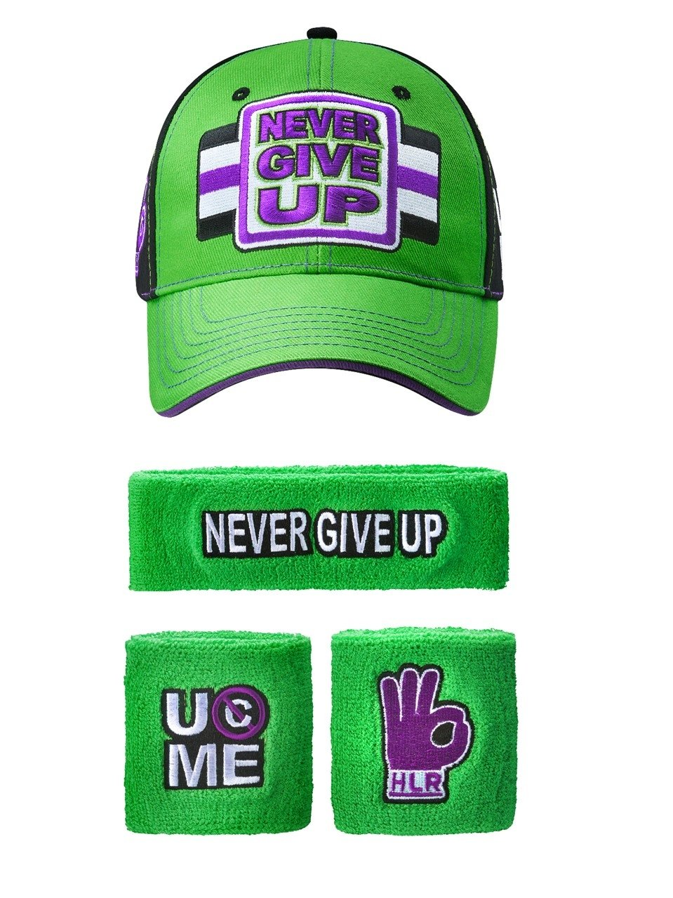 John Cena WWE Never Give Up Green Purple Baseball Hat Headband Wristband Set by Freeze
