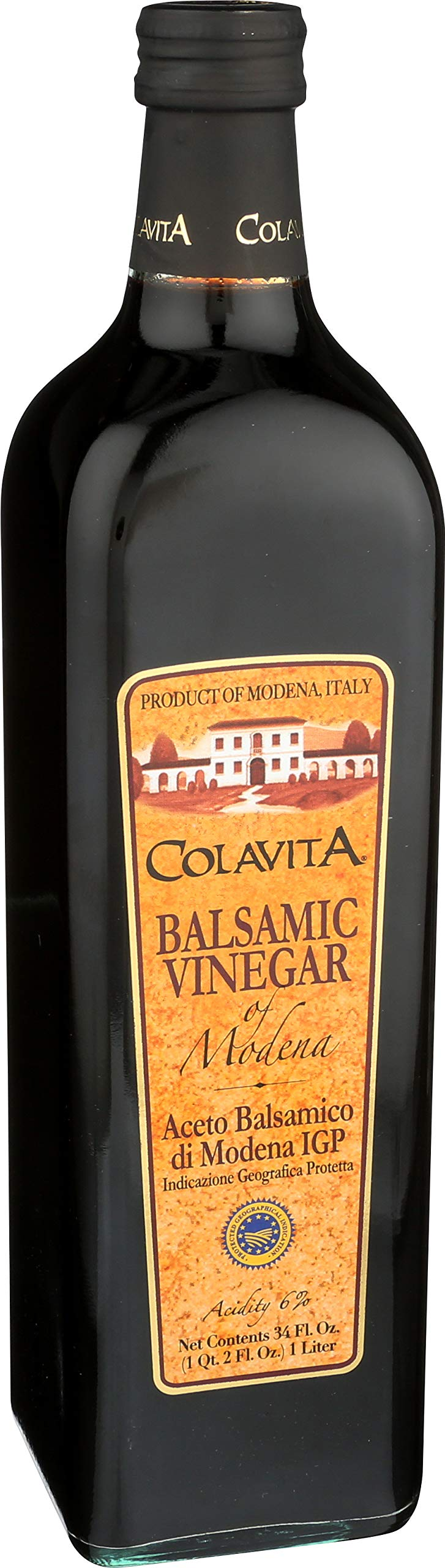 "Colavita Balsamic Vinegar of Modena, 34 Ounce (Pack of 2) 6 Contains Two Bottles of Colavita Balsamic Vinegar of Modena, 34 Ounce Each This special ""12 Star"" balsamic vinegar contains more than double the amount of grape must required by Italian Law. Product of Modena, Italy"