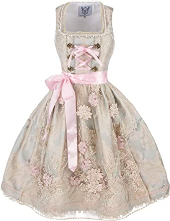 "d6aeb4d42c72c4 Bezauberndes Hochzeitsdirndl ""Loreley"" (creme-rosa-aqua) Size 44"