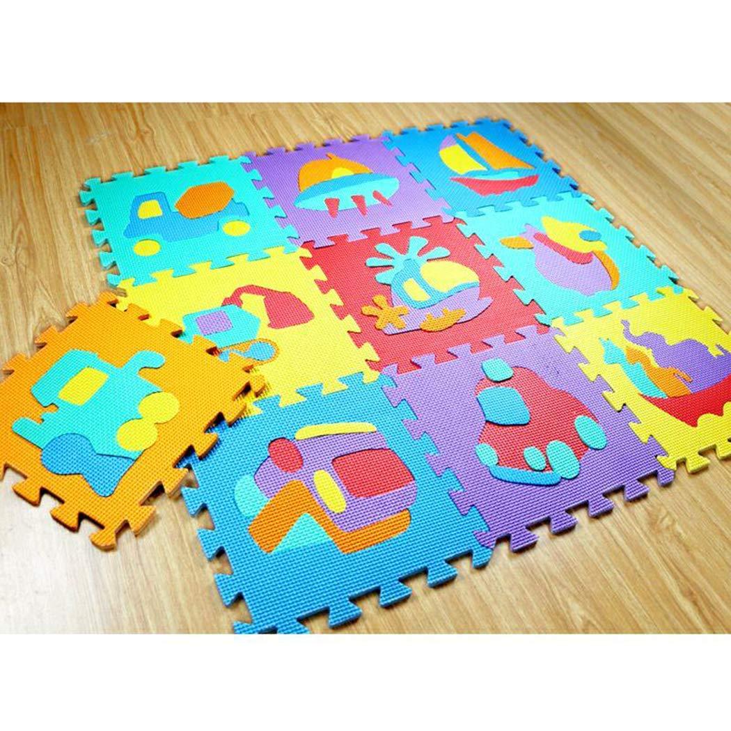 Keptei 10 Stück/ Pack Krabbelmatte Baby Spielteppich Spielmatte Ungiftig Geruchlos Eva-Schaumstoff Lernteppich Kinder Spielzeug 30 x 30cm Pro Stück (Fahrzeug)