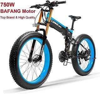LANKELEISI Nueva T750Plus Bicicleta de eléctrica, Bicicleta de Nieve con Sensor de Asistencia a Pedales de 5 Niveles, batería de Ion de Litio de 48V 14.5Ah, Mejorada a la Horquilla de Bajada: