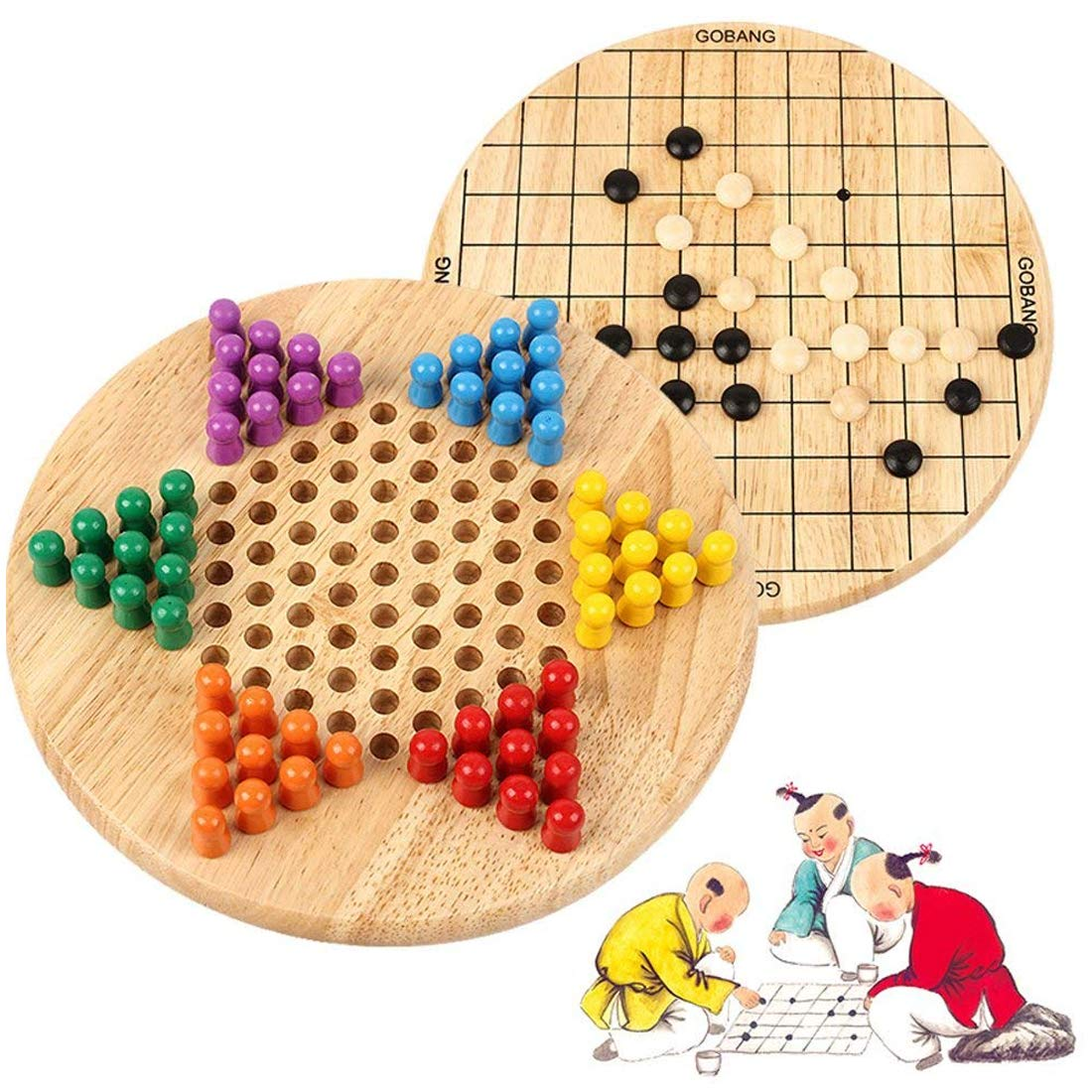 Wondertoys 2 in 1 Chinese Checkers & Gobang (Five in a Row) Wooden Board Game for Family by Wondertoys
