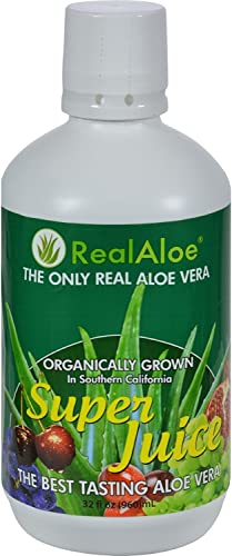 Real Aloe Aloe Vera Super Juice – Organically Grown – No Bitter Taste – 32 fl oz Pack of 4