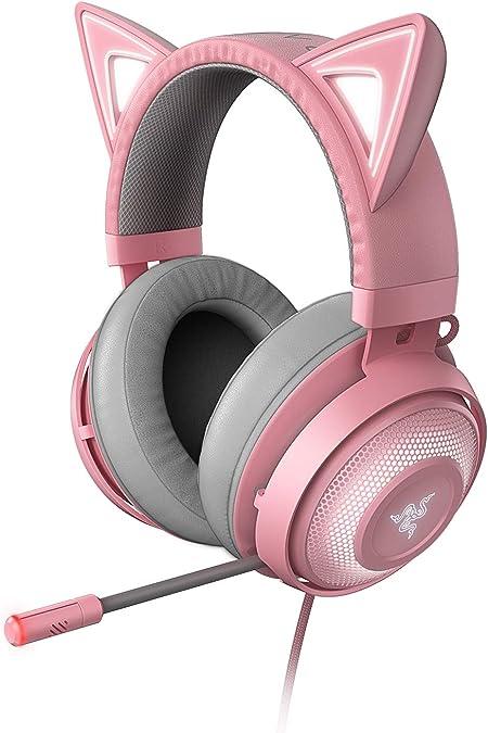 Razer Kraken Kitty - Auriculares para juegos, tipo oreja de gato con iluminación cromática RGB, micrófono con reducción activa de ruido, audio ...