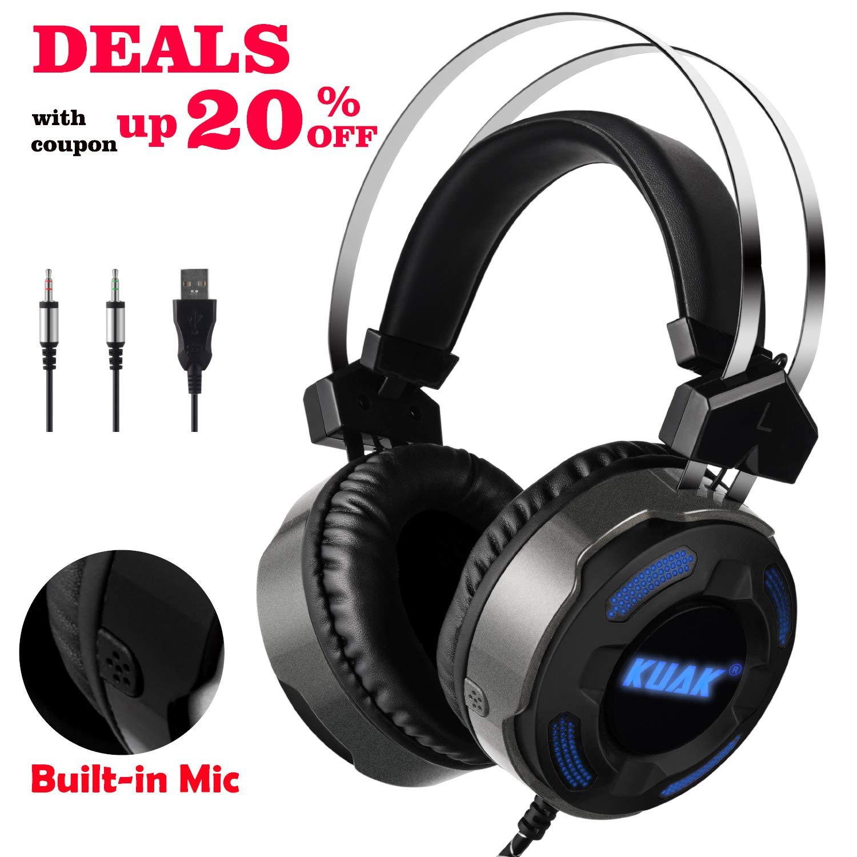KUAK X3 - Auriculares de diadema para juegos con micrófono para Xbox One PS4 PC, auriculares estéreo con cancelación de ruido, control de volumen, ...