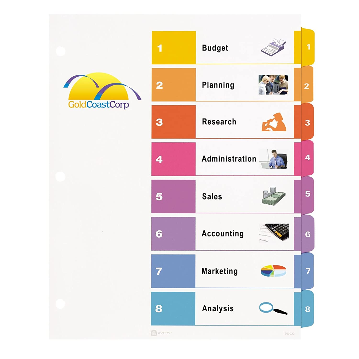 Amazon.com : Avery Ready Index Table of Contents Dividers, 8-Tab ...