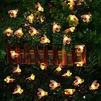 Luces De Cadena Led Cortina Ventana Jardín Exterior Cuento De Hadas Luces Jardín De Verano Cadena De Luz Solar 30Led Luces De Cadena Decorativas, Color Abeja 20Led: Amazon.es: Iluminación