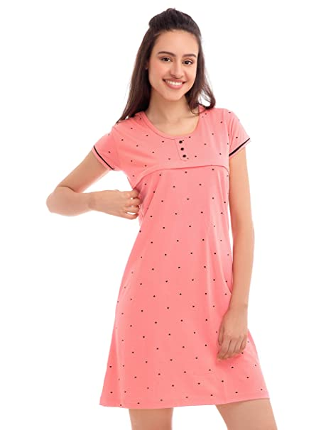 1faa826070 ZEYO Women s Cotton Little Heart Print Half Sleeve Breastfeeding Night Gown  (Peach