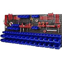 Estantería de pared con 40 soportes para herramientas y 64 cajas apilables, 1728 x 780…