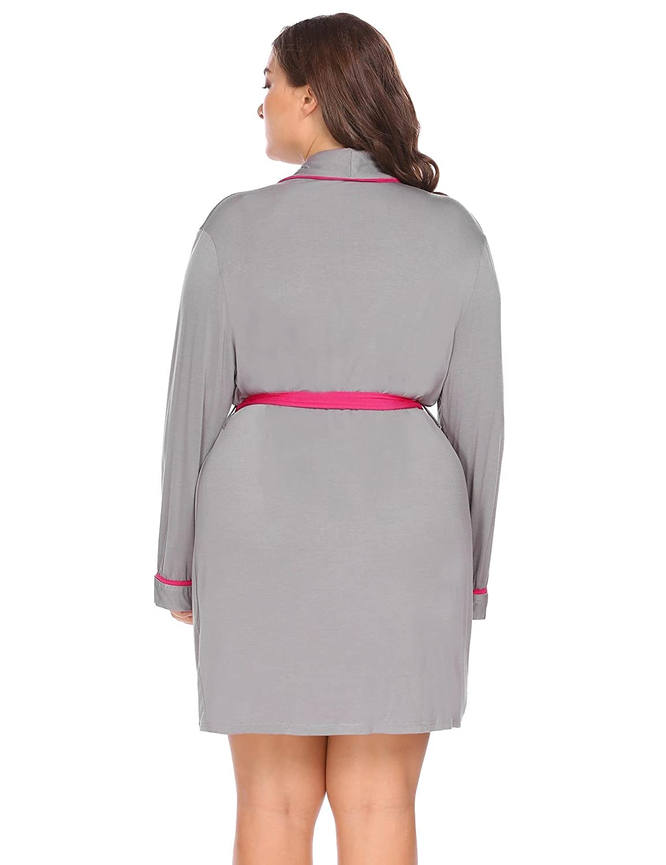 Dicesnow Women Plus Soft Casusl Robe Shawl Collar Long Sleeve Bathrobe  Sleepwear With Belt XL-4XL at Amazon Women s Clothing store  6f0d5954121