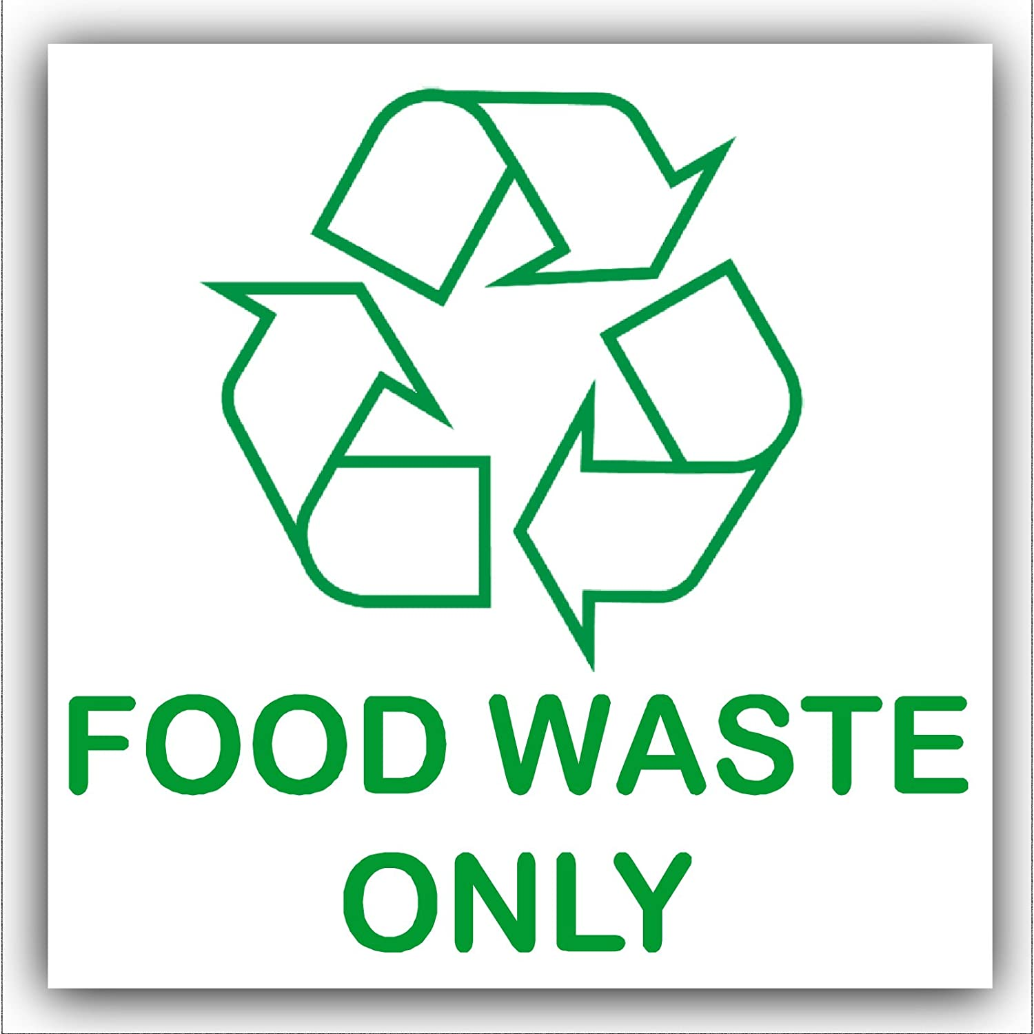 Food Waste Only Recycling Bin Adhesive Sticker Recycle Logo Sign