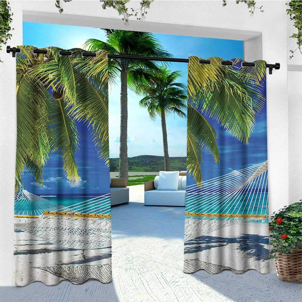 leinuoyi Beach, Outdoor Curtain Wall, Hammock on The Sandy Beach Between Palm Coconut Overlooking Sea Nature Art, for Patio Furniture W84 x L96 Inch Cream Navy Green