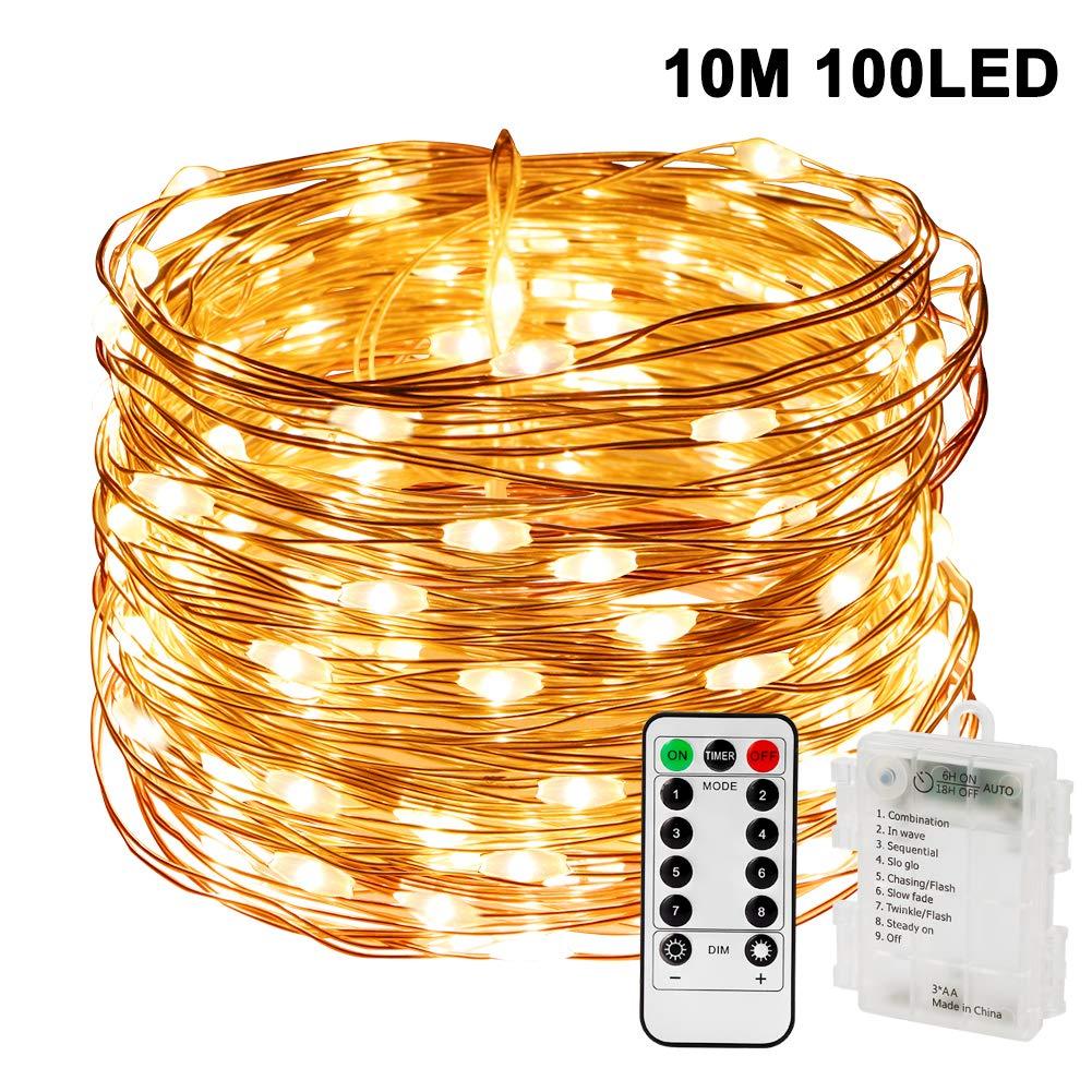 jardin Warmeswei/ß Nasharia Guirlande lumineuse /à 100 LED 8 modes IP65 /étanche avec t/él/écommande et minuteur pour lext/érieur /Éclairage int/érieur mariage f/ête