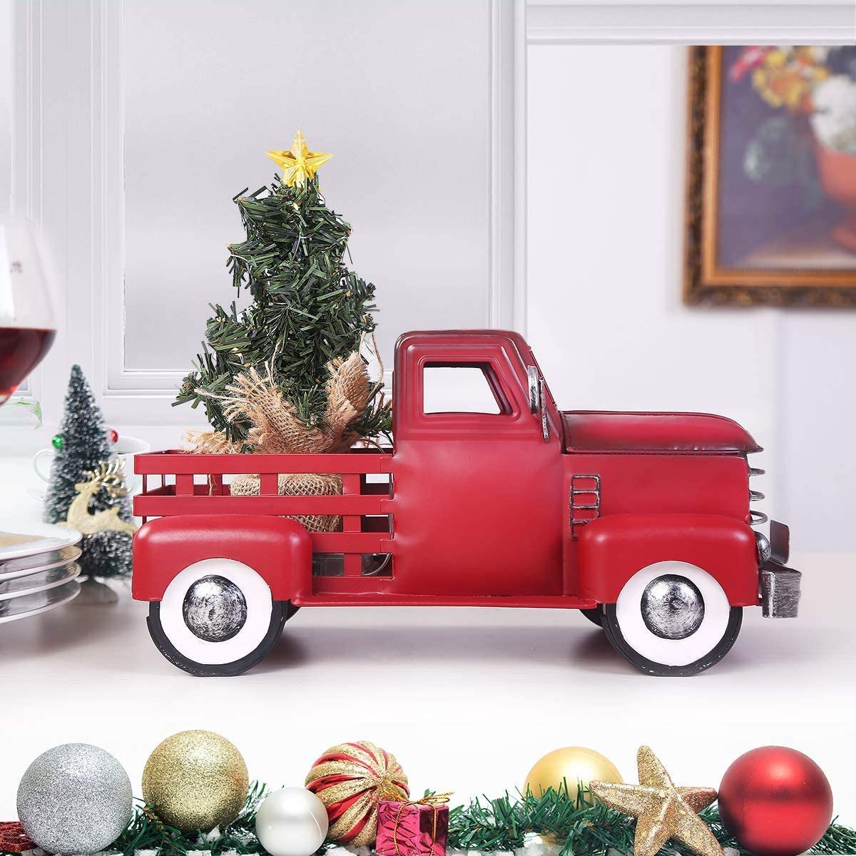 MH Christmas Truck with Tree Ornament Set, 3AA Battery Operated 15 pcs Warm White LEDs Metal Pickup Truck Car for Christmas Decorations Table Top Decor, Small