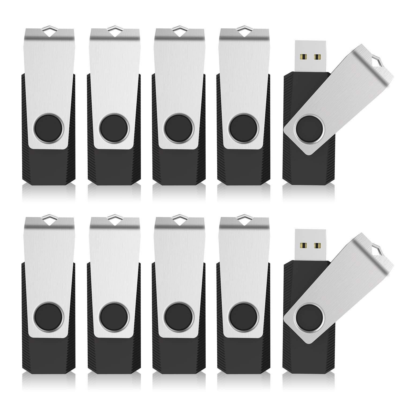 KEXIN Bulk USB 50 Pack 1GB USB Flash Drives Flash Drive Thumb Drive Bulk Flash Drives Swivel USB 2.0 (1G, 50PCS, Black) by KEXIN (Image #1)