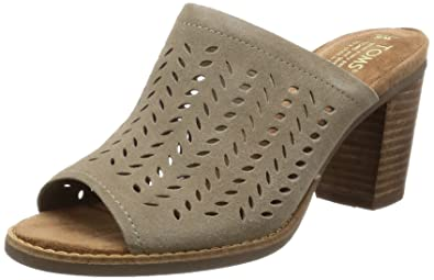 1364a683f2e2 TOMS Women's Majorca Mule Desert Taupe Suede Perforated Leaf Sandal 9 Women  US