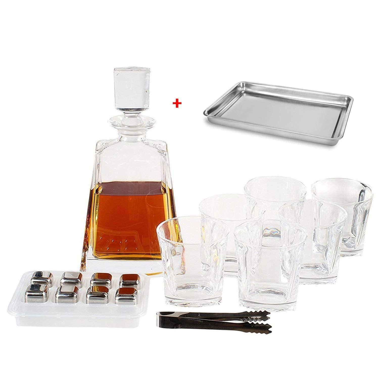 Whiskey Decanter Set by Opul (10 Piece Set) - Includes Crystal Whiskey Glasses Set, Whiskey Stones, Stainless Steel Tray and Tongs - Elegantly Designed to Last the Test of Time by OPUL (Image #1)