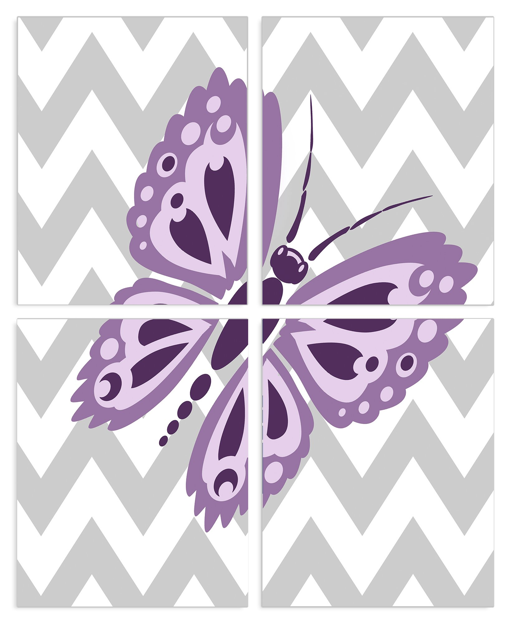 The Kids Room By Stupell Purple Butterfly On Grey And White Chevron 4-Pc. Rectangle Wall Plaque Set, Proudly Made in USA by The Kids Room by Stupell