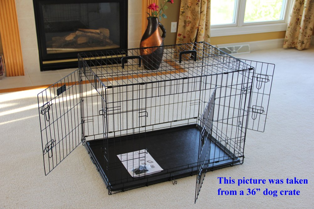 EliteField 3-Door Folding Dog Crate with RUBBER FEET, 5 Sizes, 10 Models Available (3-Door Crate with Divider, 48''L x 30''W x 32''H)