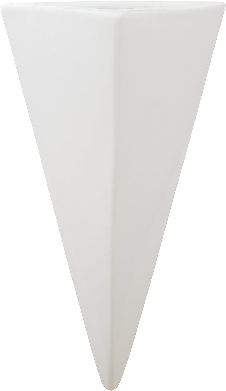 "Amazon Brand – Rivet Triangular Wall Mount Vase, 8.75""H, Modern Earthenware, White"