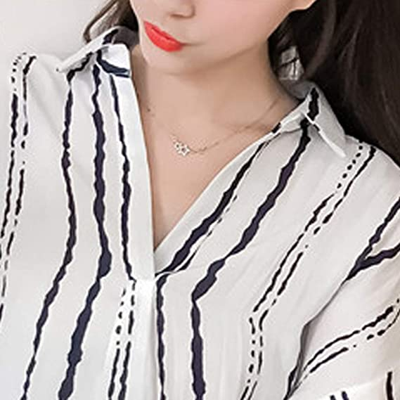 Frozac 2018 Summer Chiffon Blouse Women Tops Striped Print Shirts Large Size Blouses V-Neck Batwing Sleeve Blusas at Amazon Womens Clothing store: