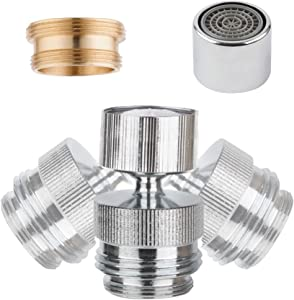 Garden Hose to Faucet Adapter, Sink Garden Hose Attachment Connection for Sink kitchen Sink Garden Hose Adapter Connector 360-degree Swivel 55/64 inch Female Thread- Chrome Finished