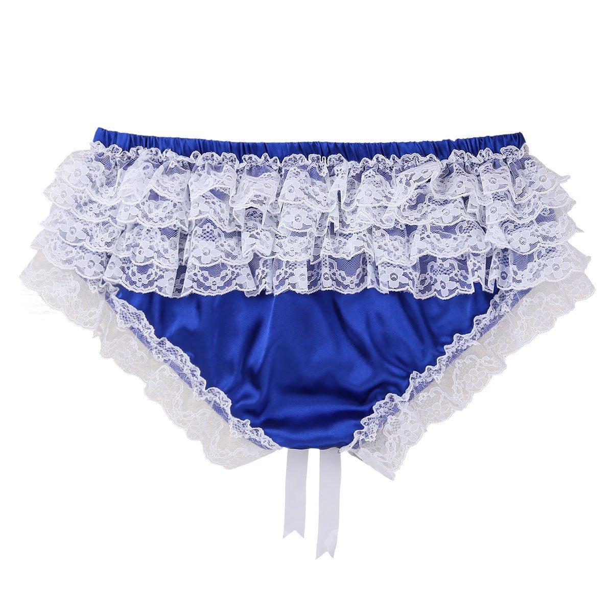 ea36f1b33a ACSUSS Men s Silky Shiny Satin Ruffled Lacy Sissy Thongs Crossdress  Underwear at Amazon Men s Clothing store