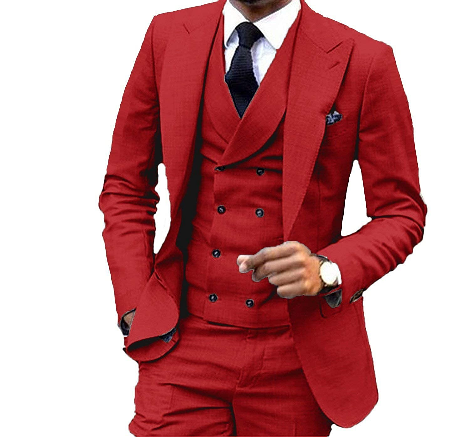 Fitty Lell Men's Suit 3 Piece Fashion Double-Breasted Blazer Wedding Party Suit
