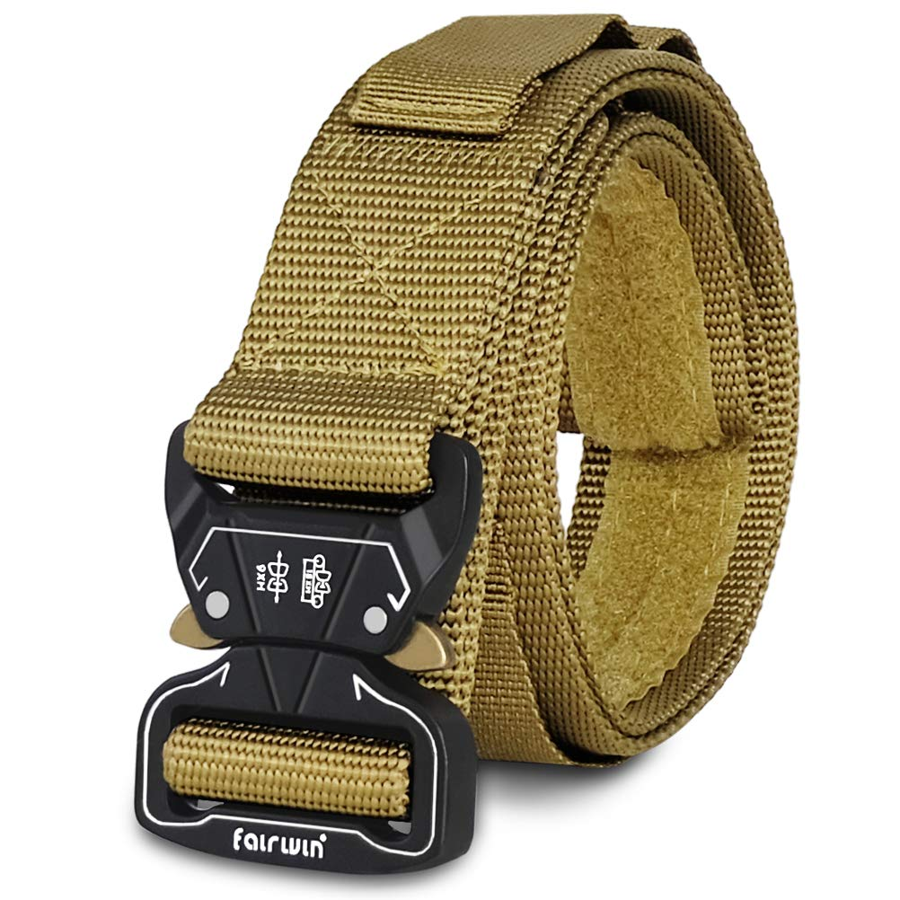 Fairwin Tactical Belt, Military Style Mens Belt with Pouch Holes Valcro Tail and Heavy Duty Quick Release Buckle by Fairwin