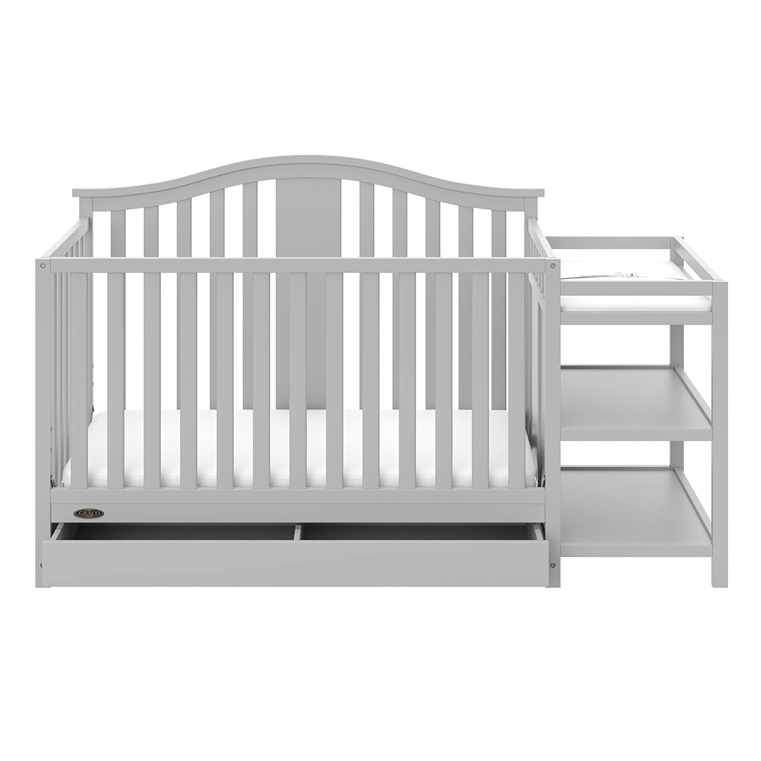 Graco Solano 4-in-1 Convertible Crib and Changer with Drawer Pebble Gray, Fixed Side Crib, Solid Pine and Wood Product Construction, Converts to Toddler Bed Day Bed Full Bed (Mattress Not Included)