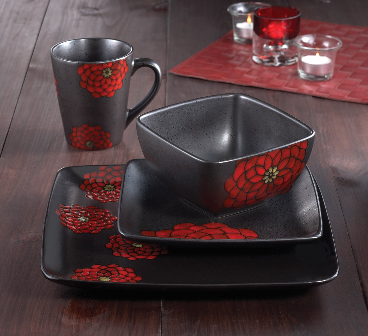 Amazon.com | Asiana Red 16-Piece Dinnerware Set: Dinnerware Sets
