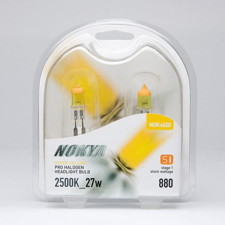 NOKYA S1 HYPER YELLOW 2500K HALOGEN 27w REPLACEMENT LIGHT BULBS PAIR SIZE 880