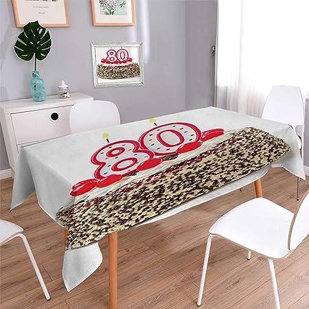 Anmaseven - Mantel DE 80 cumpleaños, diseño de Cerezas con ...