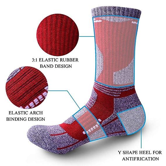 Lixada 3 Paar Wandersocken Trekkingsocken Feuchtigkeitstransportierende Atmungsaktive Socken f/ür M/änner Frauen