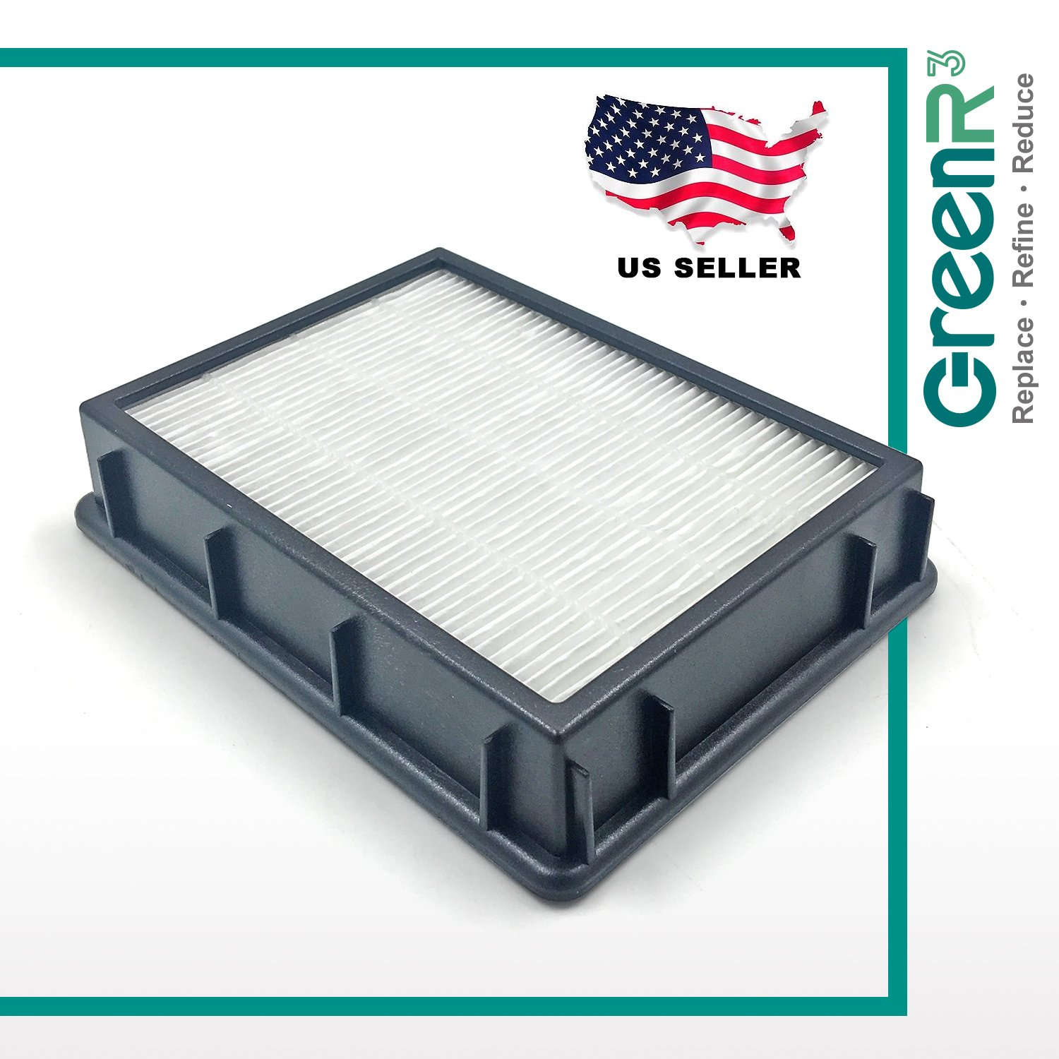 GreenR3 1-PACK Air Filter FOR Eureka HF-2 fits 61111 61495 Ultra SmartVac 4800 series 4870 4875 4872 4874 Upright HF2 Part Model PN Replenishment Replacement and more Compatible