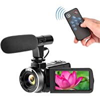 Camcorder with Microphone Digital Camera Full HD 1080p 30fps 24.0MP Vlogging Camera for Youtube Video Camera Support Remote Controller