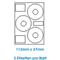 300 STK. Selbstklebende WEIßE Etiketten permanent klebend Adressetiketten Etikettenformat CD DVD Labels Rund Ø 113.0x37.0 mm 100 Blatt DIN A4 70g/qm geeignet für Inkjetdrucker- Laserdrucker Kopierer