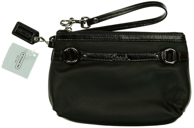 Coach Gallery Leather Medium Wristlet F48294 (SV/Black)