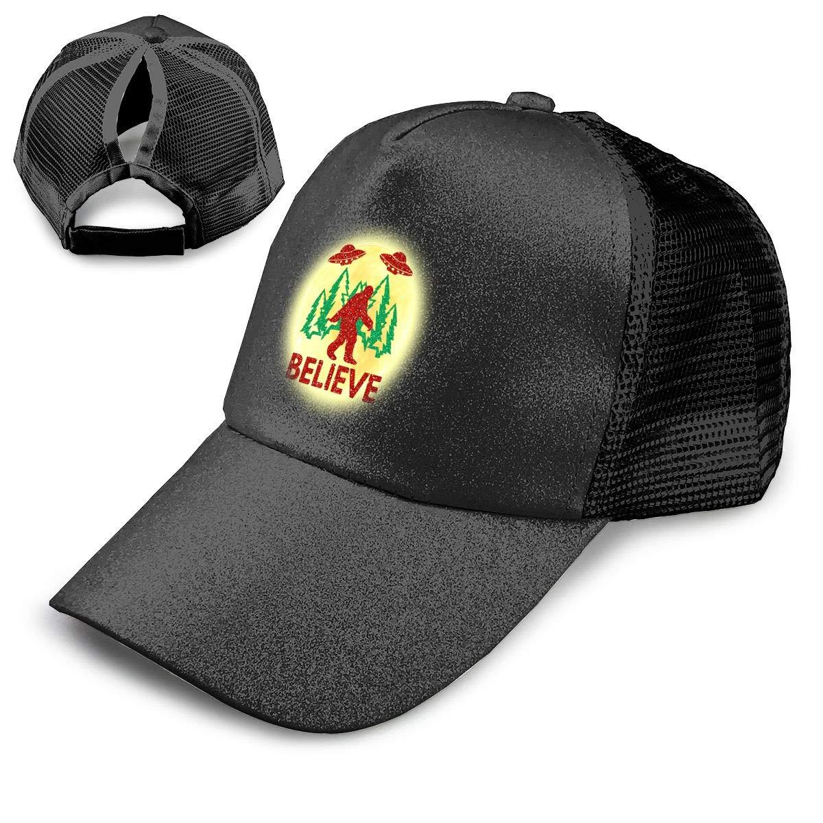 Bigfoot Sasquatch Believe with UFO and Aliens Ponytail Messy High Bun Hat Ponycaps Baseball Cap Adjustable Trucker Cap Mesh Cap