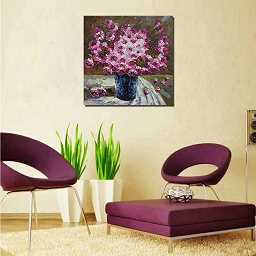 GOUPSKY ART - 4 Colors to Choose - Blooming White Flowers Modern 100% Hand Painted Oil Painting on Canvas for Living Room Bedroom Home Decorations Ready to Hang