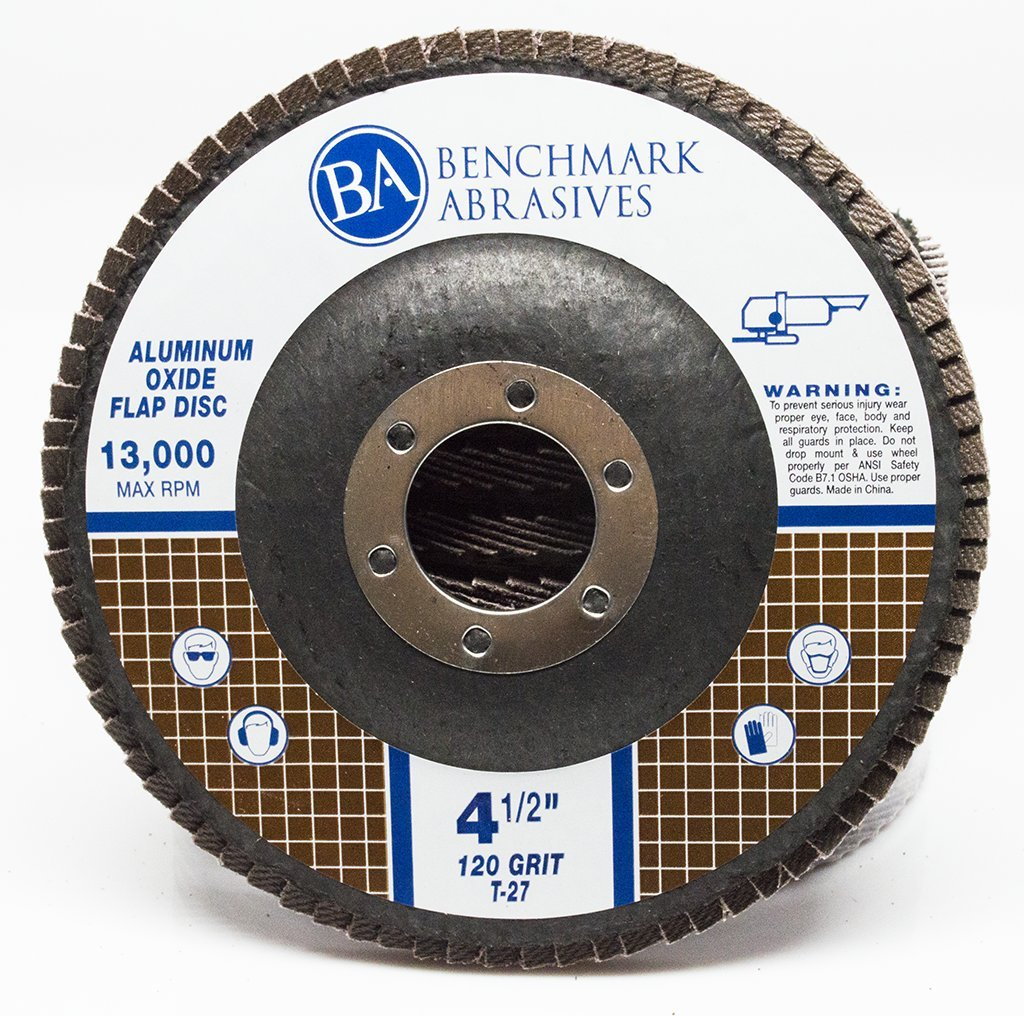 Benchmark Abrasives 4.5'' x 7/8'' Type 27 Aluminum Oxide Flap Disc - 10 Pack (120 Grit)