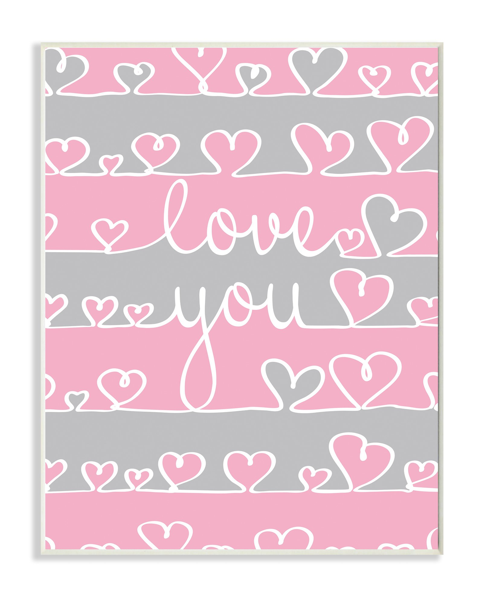 The Kids Room by Stupell Love You Pink And Gray Hearts Textual Art Wall Plaque, 11 x 0.5 x 15, Proudly Made in USA