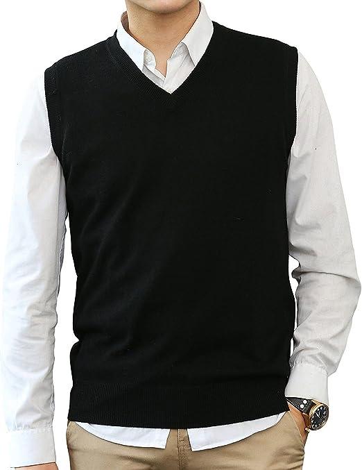 Herren Slim Pullunder Strick Weste V Pullover Westover Ärmellos//Pullover M-2XL