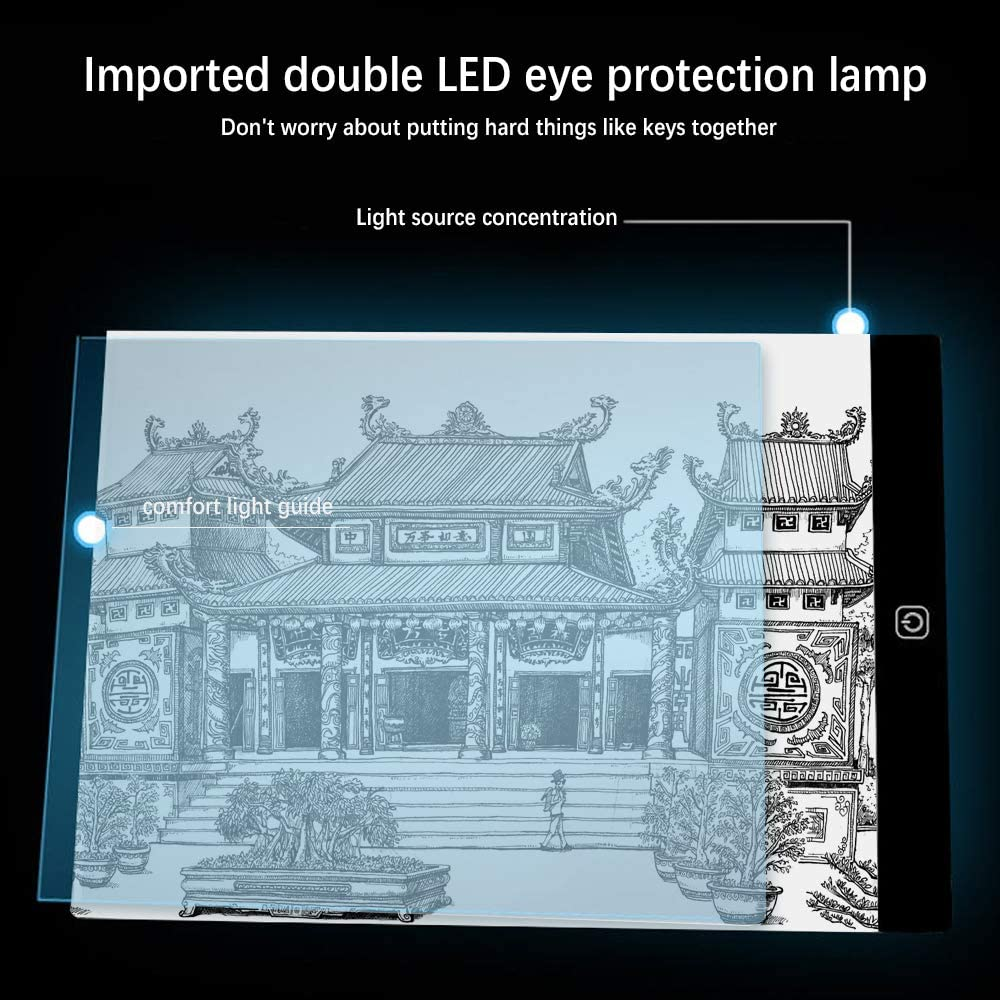 A5 LQKYWNA A4//A5 3MM Ultra-thin USB Copy Board Adjustable Brightness Drawing Lightbox Display Pad for Tracing Artists Animation Sketching Designing
