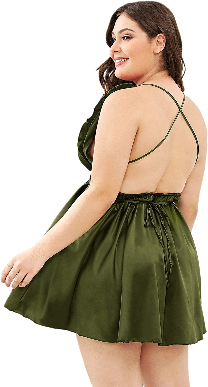 Milumia Women Open Crisscross Back Satin Frill Trim Deep V Neck Teddy Babydoll Sleepwear Lingerie Plus Size