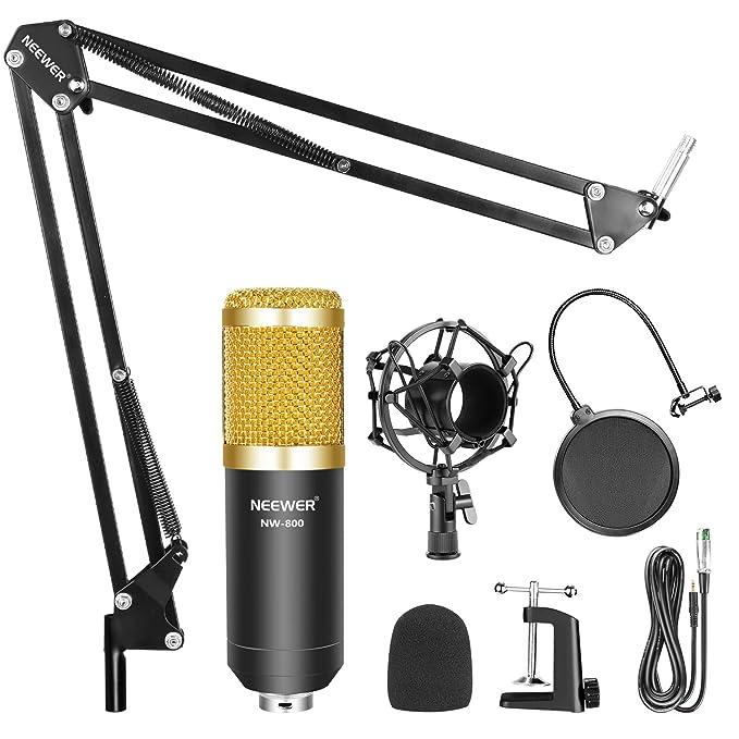 Neewer NW-800 Micrófono Condensador Profesional Estudio y NW-35 Micrófono Grabación Ajustable Suspensión Brazo de Tijera Soporte con Montaje de Choque ...