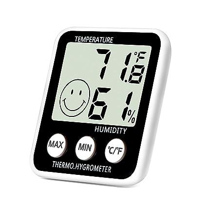 Termómetro Digital Interior higrómetro medidor de humedad temperatura Monitor pantalla LCD grande Max/Min registros